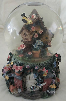 Rare-Musical Bird and Birdhouses Snowglobe! With many different features!