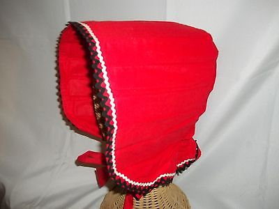 Ladies Size O/S Long Brim Pilgrim Style Red Cotton Vintage Cap Hat NWOT Costume