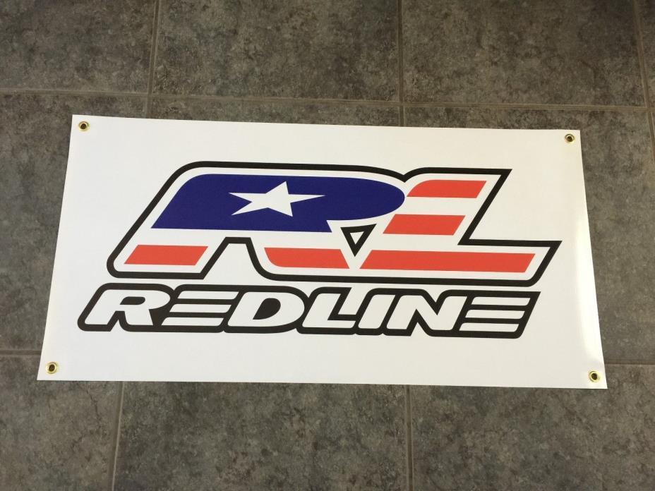 Redline banner sign shop wall garage bicyle BMX flight cranks bike race cruiser