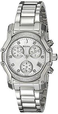 Bulova Women's Diamond Silver Dial Watch 96R138
