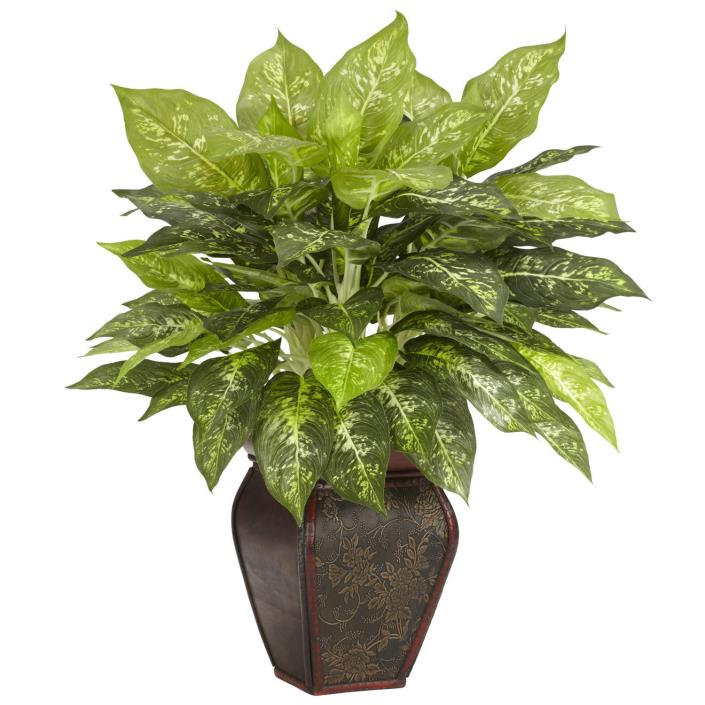 New Dieffenbachia With Decorative Vase Silk Plant Crafts Arts Home Decor Floral