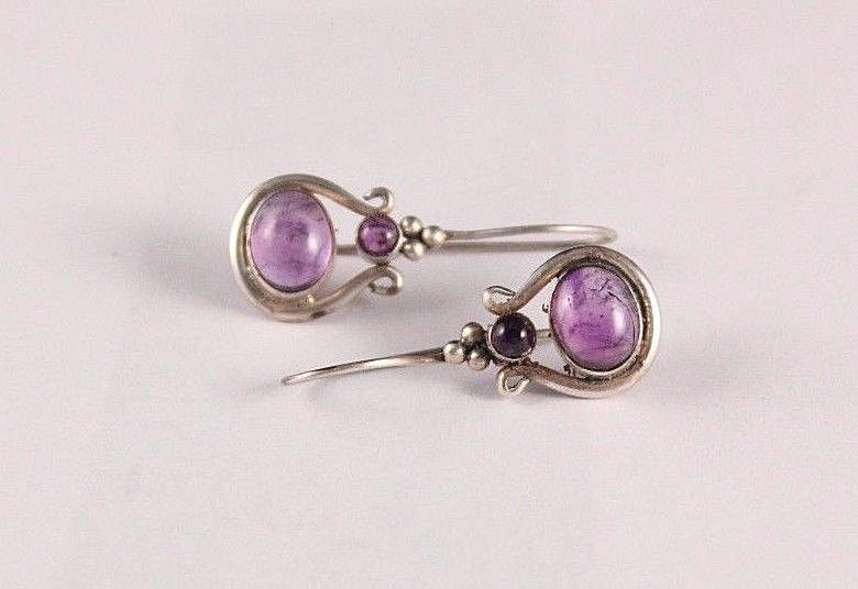 Vintage Sterling Silver 925 Purple Natural Amethyst Dangling Pierced Earrings