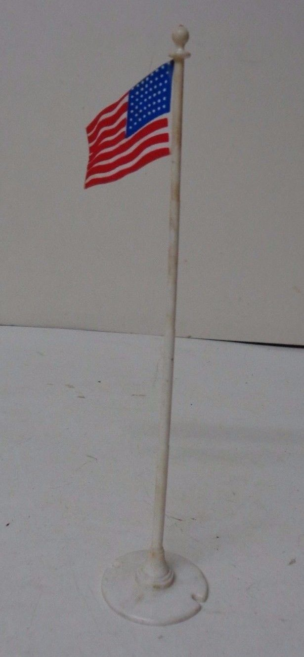Vintage Plasticville Christmas Garden USA Flag on Pole