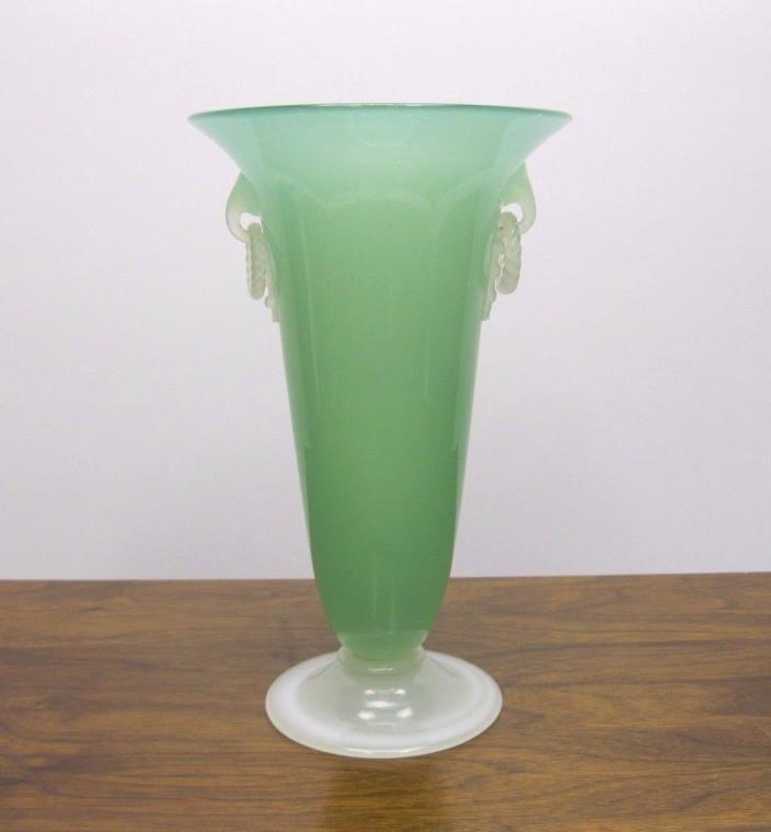 Steuben Carder Glass Vase Green Jade & Alabaster Open Ring Handled - 2909