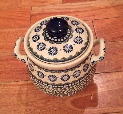 Polish Pottery Canister with Lid and Handles