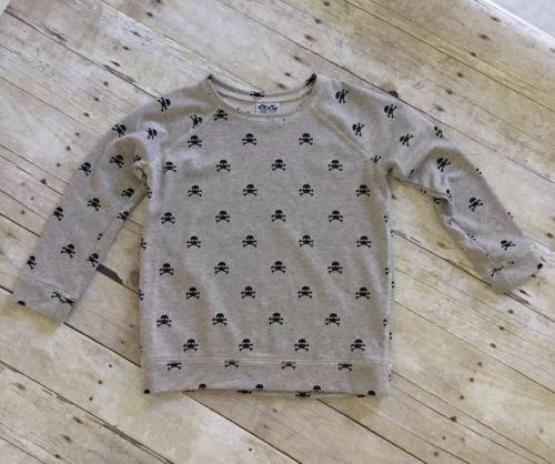 Girls JUNK FOOD Skull Print Gold Sparkle Thread Sweater SZ 12 XL Gray shirt top