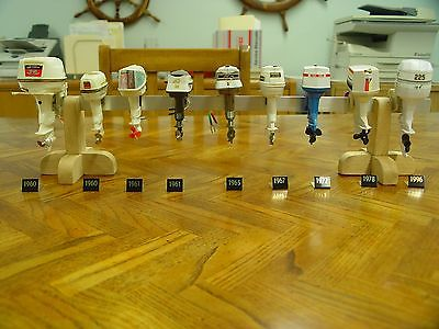 Vintage Plastic Johnson & Evinrude Miniature Toy Outboard Motors 9 Total w/stand