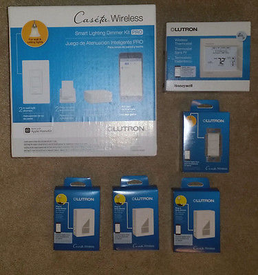 Lutron Caseta Wireless Home Dimmer package with Smart Bridge and thermostat