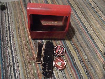 vintage red shoe shine kit