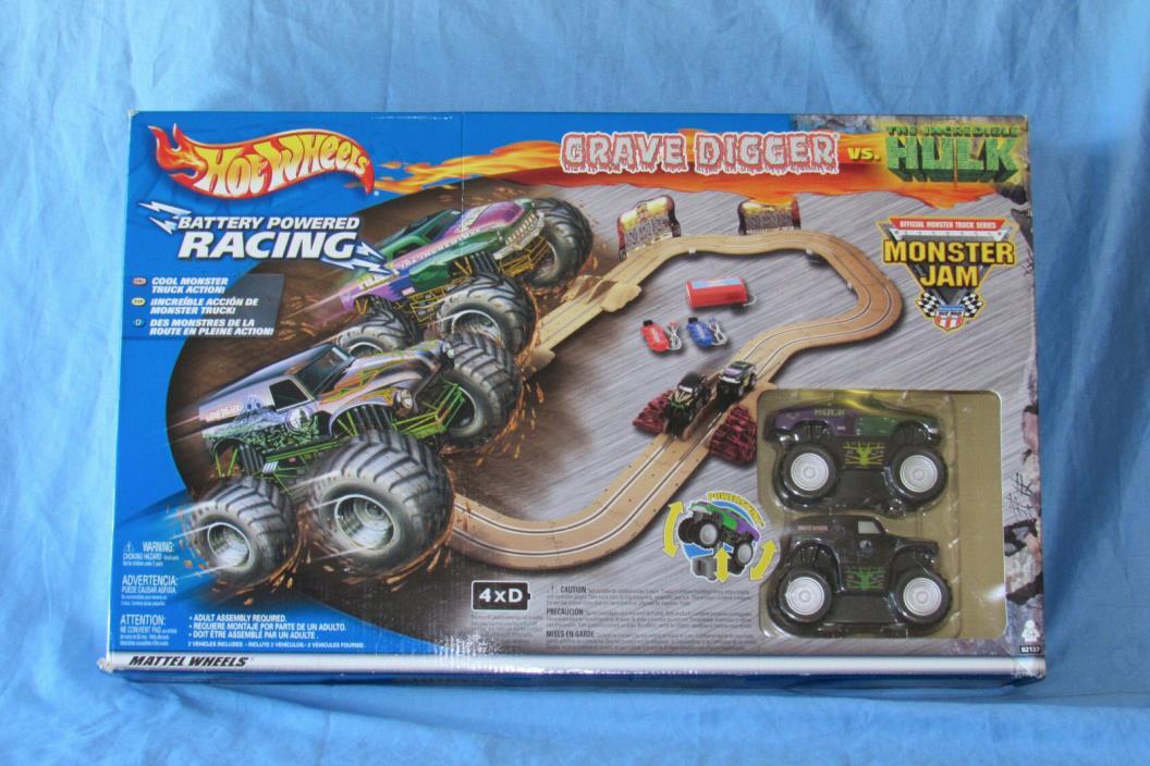 RARE 2002 Hot Wheels Monster Jam Slot Car Racing Set Grave Digger vs Hulk