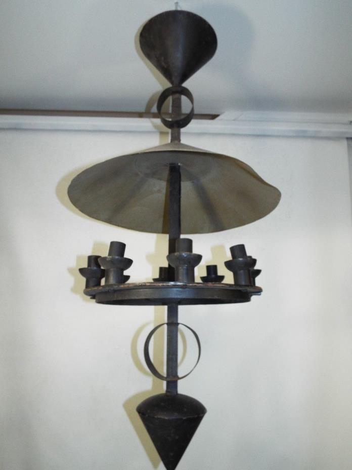 Iron Tole Candle Light Fixture Primitive Folky Ca. 1900 44 X 20