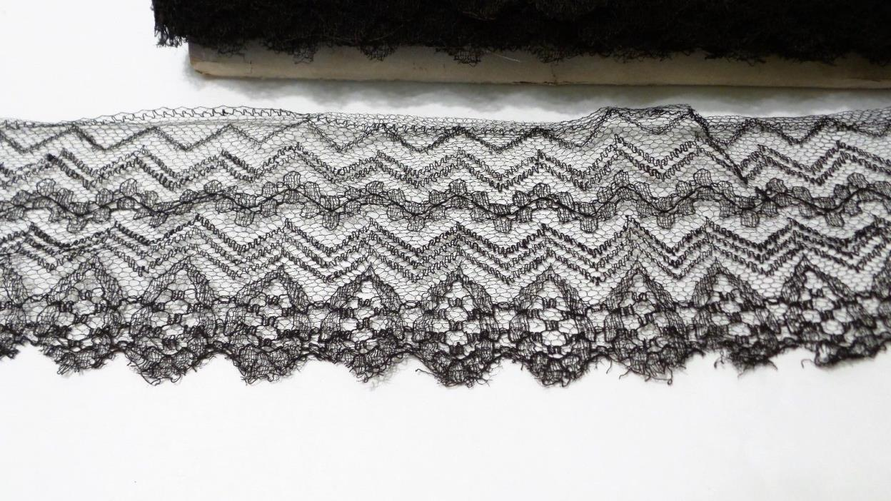 Antique Black Mourning Lace Zig Zag Trim 4 1/2