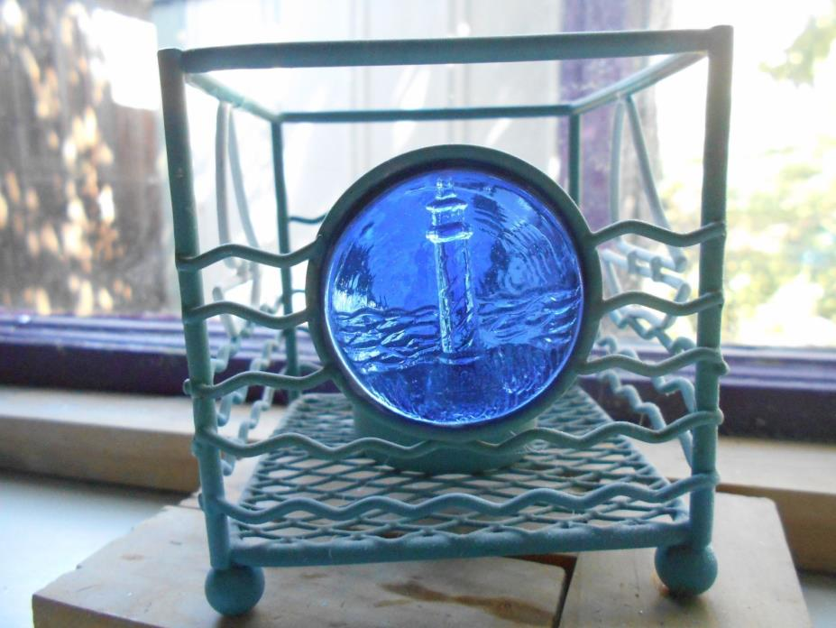 STAINED GLASS EMBOSSED LIGHT HOUSE  CANDLE HOLDER