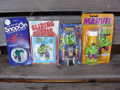 LOT of 4  INCREDIBLE HULK ITEMS FlashLight Sliding Puzzle Gumball Bike Reflector