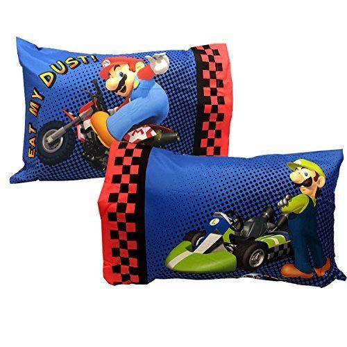 Nintendo Pillowcases Set of 2 Super Mario Kart Race Bedding Pillows