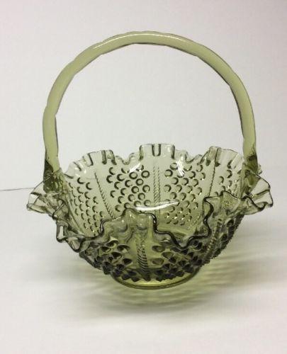 Fenton Colonial Green Hobnail Basket Vintage