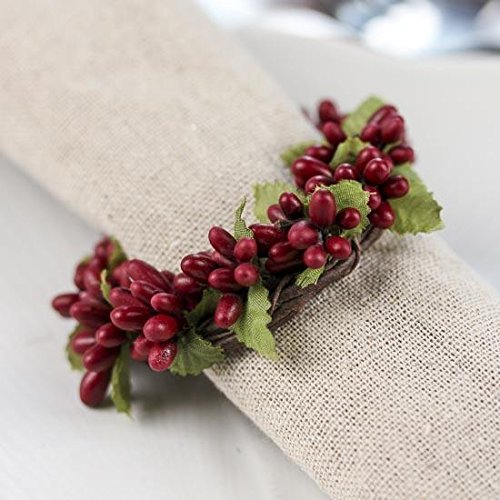 Group of 4 Plump Burgundy Pip Berry Miniature Candle or Napkin Rings for