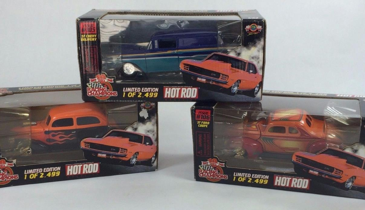 3~Racing Champions, HOT ROD 1:24, 37 Ford Humpback, 57 Chevy Delivery, 37 Ford C