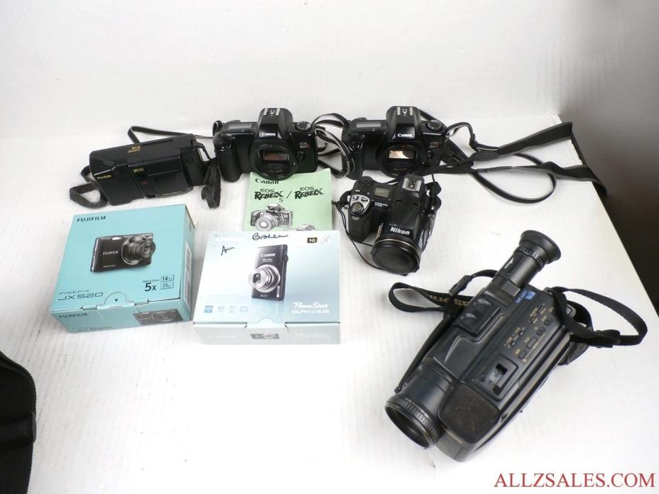 Mixed Lot of Digital and 35mm Film & Video Cameras Canon FujiFilm - AS IS