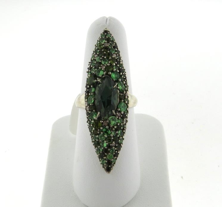 Alexis Bittar Marquis Sterling Tourmaline Tsavorite Quartz Diamond Ring $1795