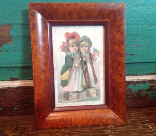1880's Victorian Trade Card Framed, Victorian Girls, Patriotic, Flag, Ephemera