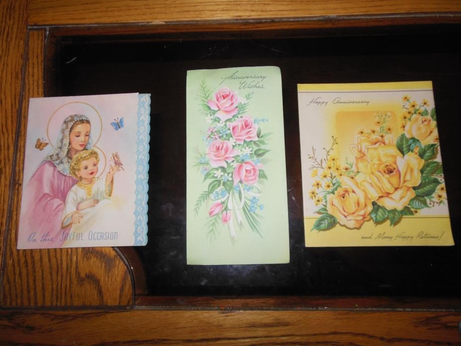 Vtg Lot 3 Assorted Annniversary/JO Cards Scrapbooking/Crafts 1950s-1960s UNUSED!