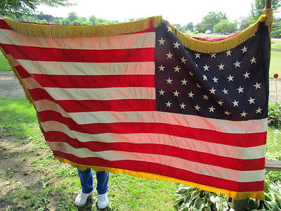1959 - 49 Star US Flag w Gold Fringe Cords Tassels & Catholic Polish Flag 6'x4'