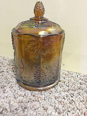 Indiana carnival glass amber harvest grape jar