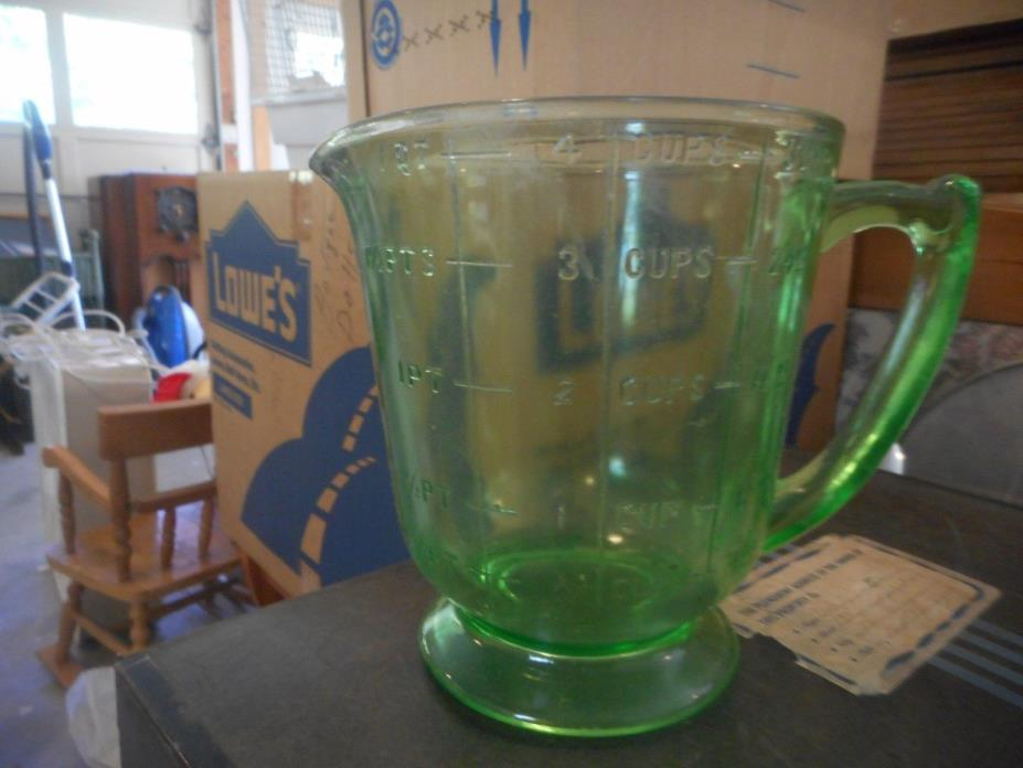 Vintage Green Depression Glass Measuring Cup
