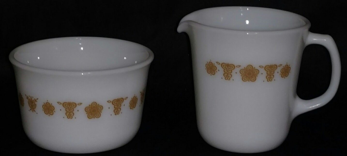 Vintage Pyrex Corelle Butterfly Gold Sugar Dish And Creamer