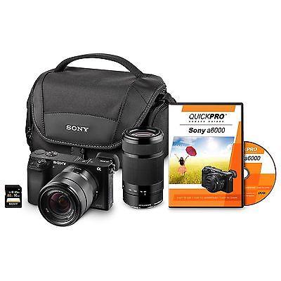 Sony a6000 24MP Interchangeable Lens Bundle with 18-55mm Lens, 55-210 Lens, Case