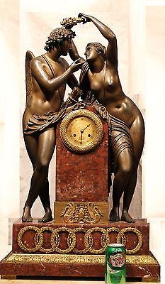 Huge 36 Inch Tall Genuine Empire Mid-19th Century Solid Bronze & Marble Clock