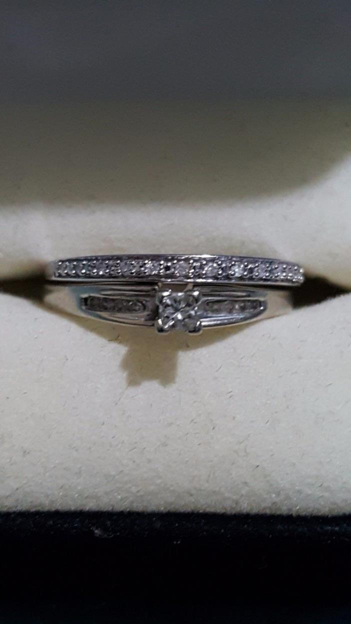 Real 10k White gold diamond engagement ring wedding set