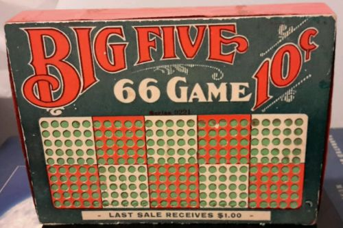 Vintage Big Five 66 Game .10 Punch Board Unused