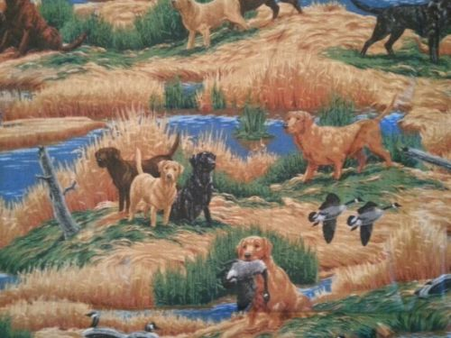 Vintage Duck Hunting Dog Dogs Shack Scene Cranston Fabric Remnant Cabin