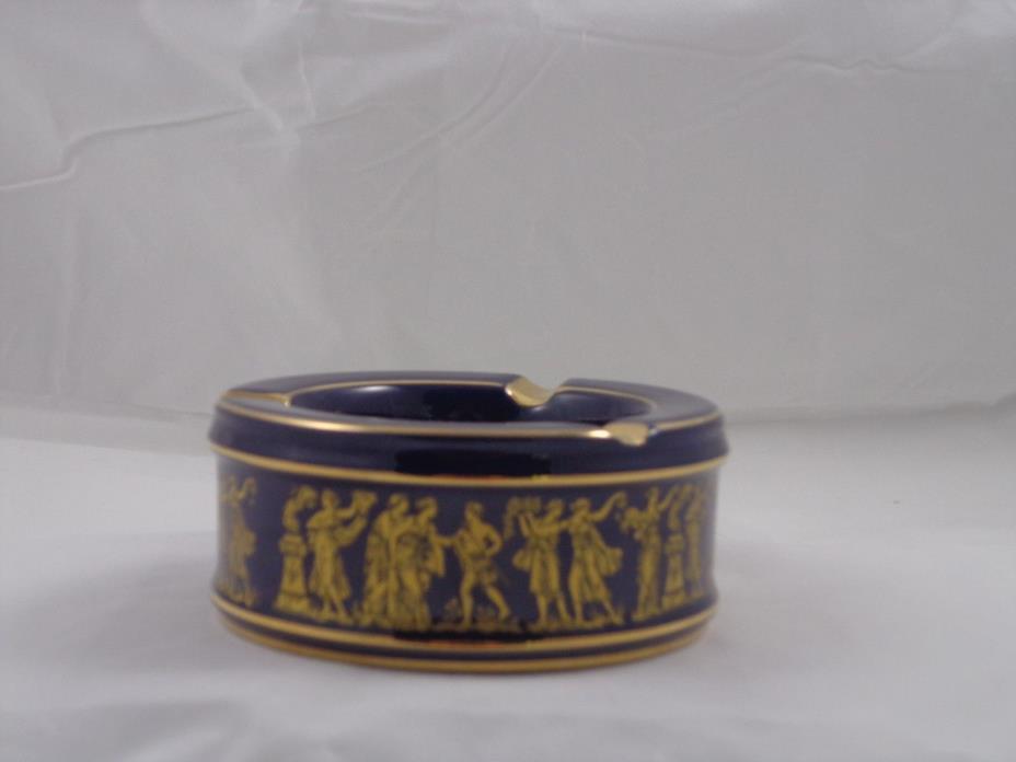 Vintage Handmade Italian Florentine Cobalt Blue Porcelain Ashtray