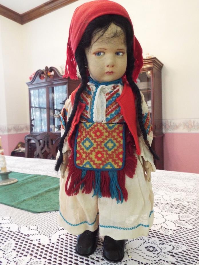Rare 17 inch Gypsy Lenci Doll 1930s Milano Lombardia 300 Series Original Costume