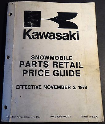 VINTAGE 1979 KAWASAKI SNOWMOBILE PARTS RETAIL PRICE GUIDE MANUAL  (203)