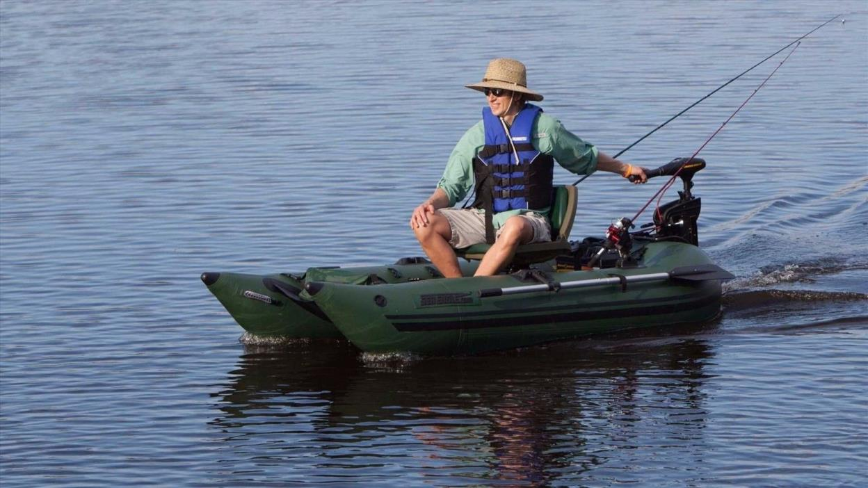 Inflatable pontoon boat for sale classifieds for Portable fishing boat