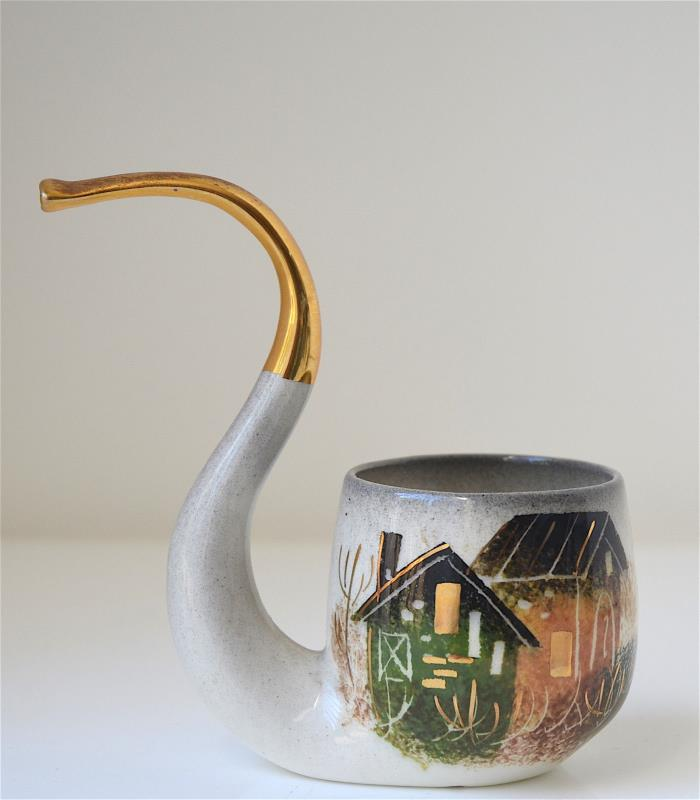 Vintage Sascha Brastoff Signed Pottery Pipe  Hand Painted Mid Century Marked