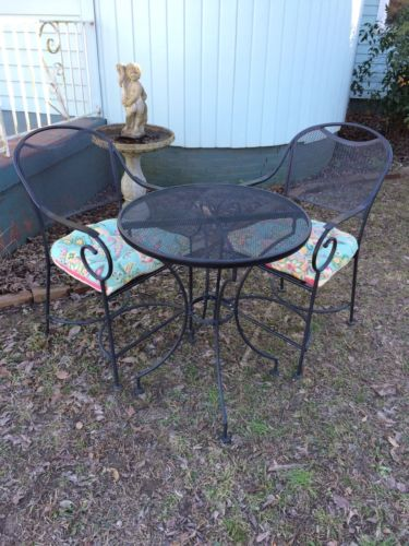 Black Bistro Table & Chairs With Cushions Sturdy Metal Coffee In The Morning!