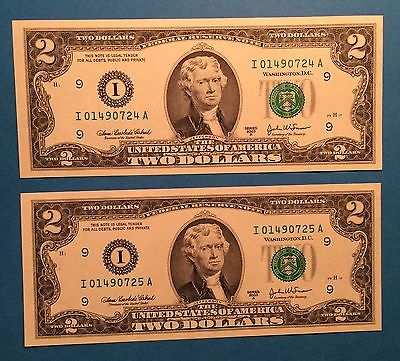 (2) Two Crisp $2 Dollar Bills Consecutive Uncirculated Series 2003
