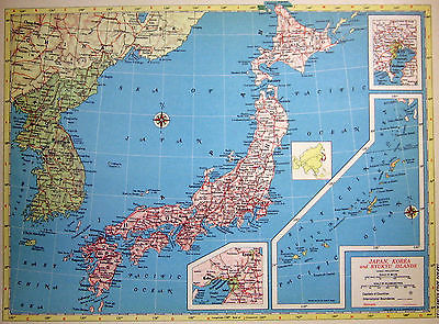 1952 Map Japan, Korea and Ryuku Islands Inset Tokyo or Northern Africa