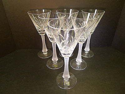 Mikasa Crystal Wine Glasses with Frosted Stems - Set of 6