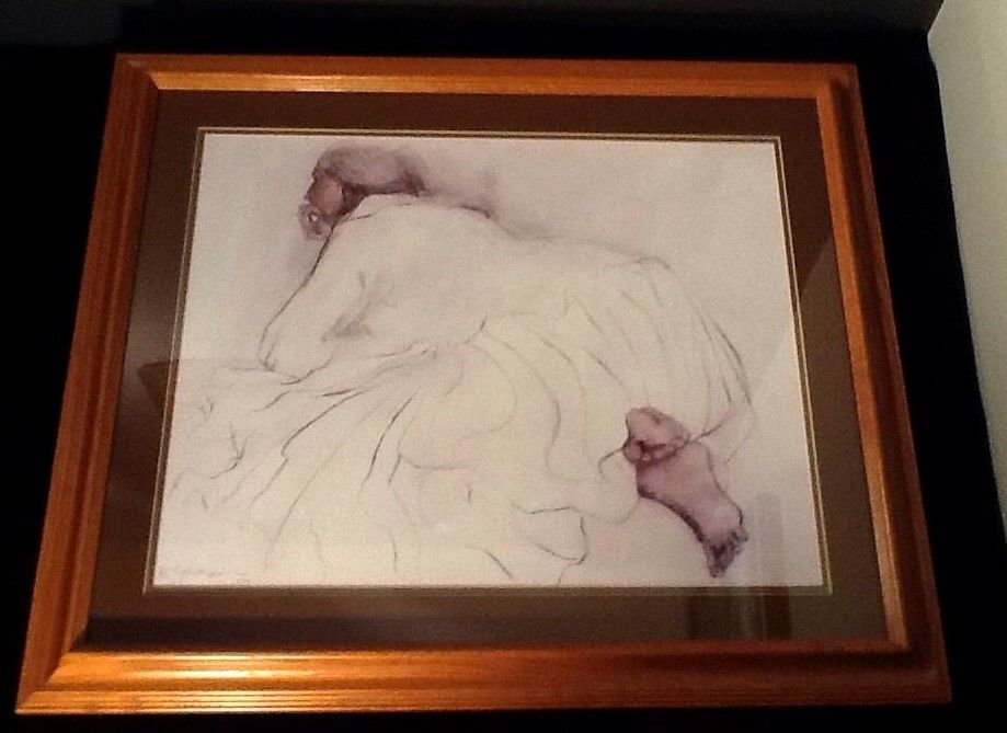 '79 Signed RC GORMAN PORTRAIT Pastel DRAWING Retro FRAMED Figural Woman Feet VTG