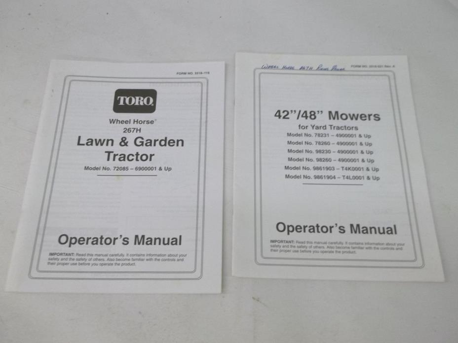 Toro Wheel Horse 267H Tractor & 42 48 inch Mowers Operators Manual