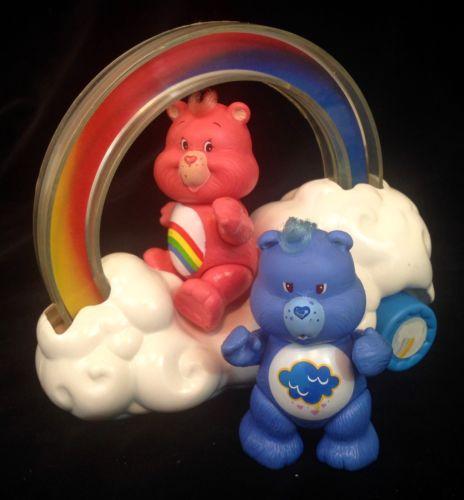 Vintage 1980's CARE BEARS Rainbow Roller Cloud Car w/ 2 Figurines Cheer & Grumpy