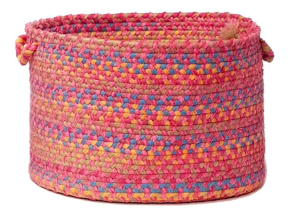 Tropical Garden Round Braided Utility Storage Basket, Punch ~ Made in USA