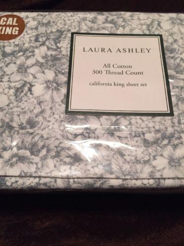 Laura Ashley Margaux Sheet Set, California King New Grey White