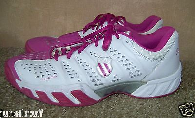 K Swiss Big Shot Womens White Pink Trainers Sneakers Size 12 Tennis Shoes